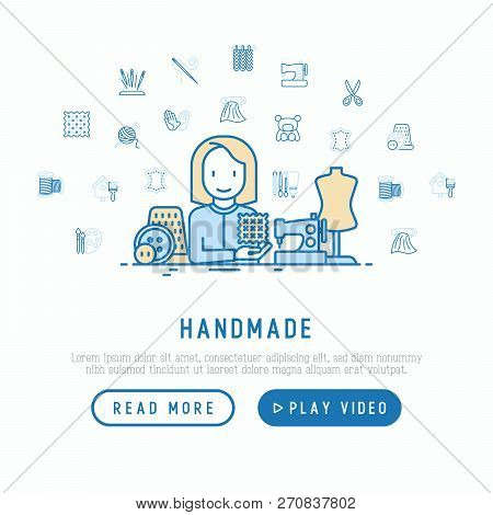 Handmade concept: seamstress with sewing machine. Thin line icons: knitting, needlework, drawing, embroidery, scissors, threads, yarn, pin. Modern vector illustration, web page template for workshop. stock photo