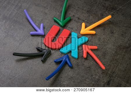 UX, User Experience concept, colorful arrows pointing to alphabet UX at the center of chalkboard, important of user centric experience design in recent world business, products and services. stock photo