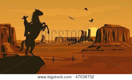 Horizontal cartoon illustration of prairie wild west with cacti and hero of the wild West leaves in decline. stock photo