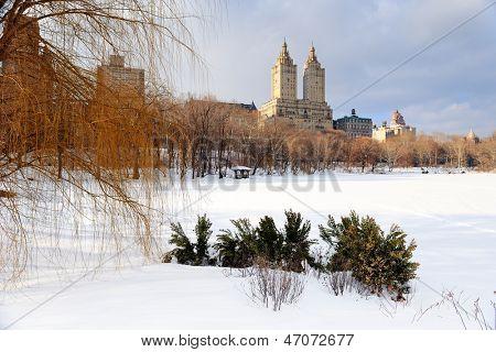New york city manhattan central park en hiver de glace et de neige sur le lac avec les gratte-ciels et bleu
