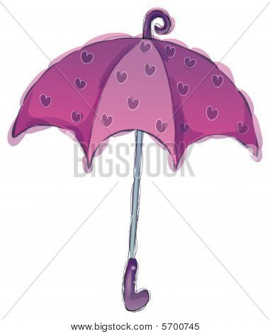 a purple umbrella with flower isolated in a white background stock photo