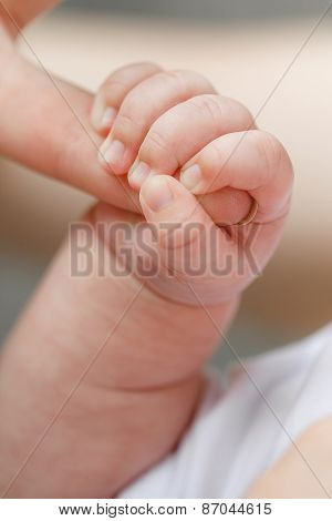 Close-up of baby\'s hand holding mother\'s finger