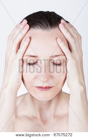 beautiful woman with lips virus infected herpes has a headache stock photo
