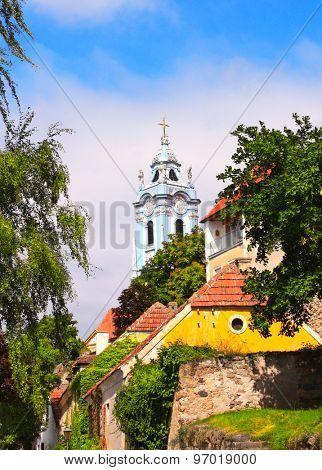 Bell tower of church Maria Himmelfahrt, Durnstein, Austria stock photo