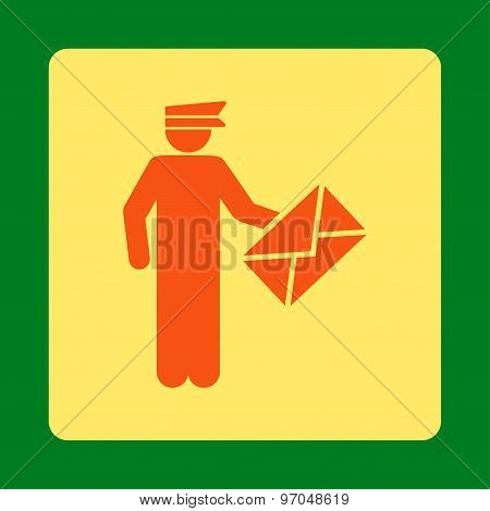 Postman icon. This flat rounded square button uses orange and yellow colors and isolated on a green background. stock photo