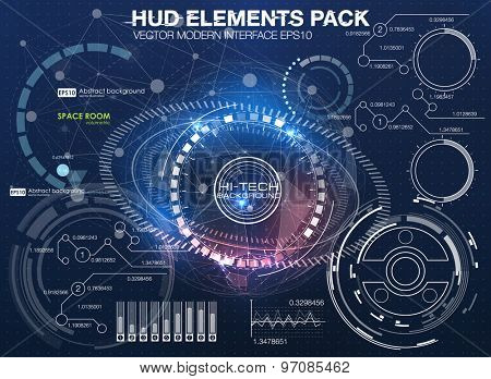 HUD background outer space. infographic elements. futuristic user interface. Vector science Polygona