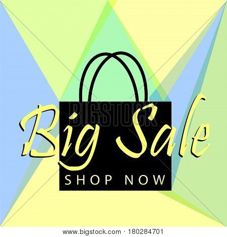 Big sale. Big sale poster or banner with black bag and button shop now for web. Big sale Vector illustration design tamplate stock photo