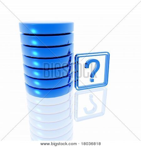 Blue question mark symbol with database structure like representation. stock photo