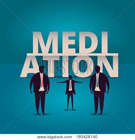 Mediation concept. Mediator assists disputing parties. Resolving conflict or dispute resolution illustartion. Mediate businessman arbitrates or separates parties. stock photo