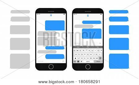 Text message boxes on smartphone screen Empty text bubbles set Dialog bubles Messaging interface with qwerty keyboard and realistic  modern mobile phone stock photo