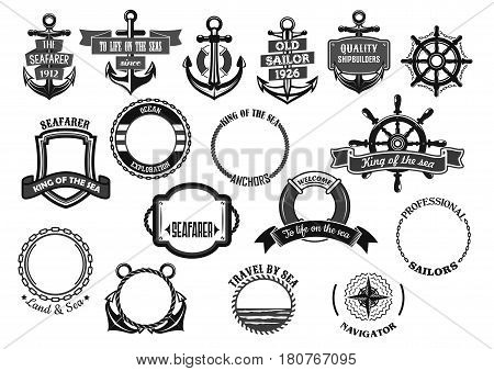 Nautical seafarer and marine sailor heraldic icons. Ship anchor, helm and life buoy, maritime chains and sailing navigation compass with water ribbons for voyager and shipbuilder. Vector symbols set stock photo