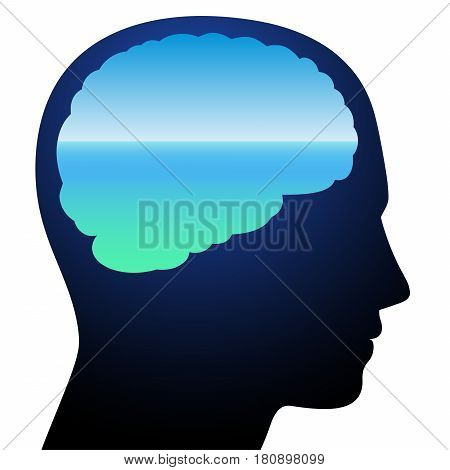 Tranquility - symbolized by a brain with relaxing calm blue ocean vision meditation. Isolated vector illustration on white background. stock photo