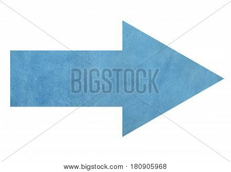 Blue watercolor arrow on white background. Watercolor arrow in blue color isolated over white. stock photo