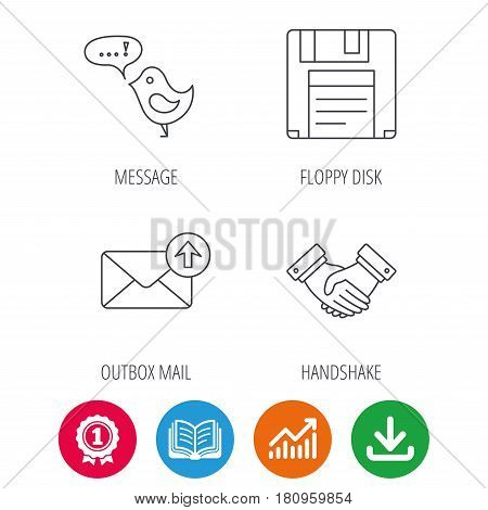 Outbox mail, message and handshake icons. Floppy disk linear sign. Award medal, growth chart and opened book web icons. Download arrow. Vector stock photo