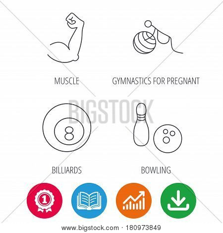 Billiards, bowling and fitness sport icons. Muscle, gymnastics for pregnant linear signs. Award medal, growth chart and opened book web icons. Download arrow. Vector
