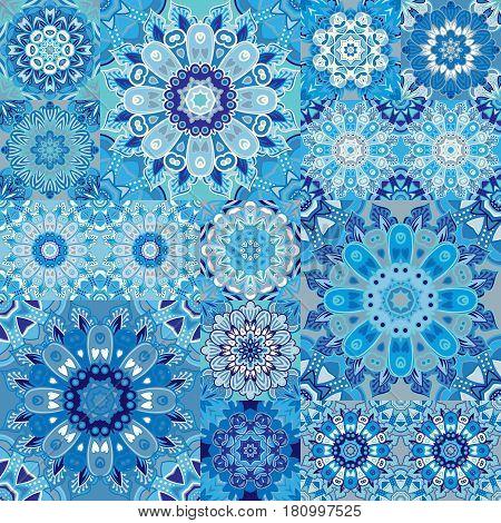 Seamless tile pattern. Colorful lisbon, mediterranean floral ornament pattern. Square flower blue mosaic. Islam, Arabic, Indian, Turkish, Pakistan, Chinese Moroccan, Portuguese Ottoman motifs. Vector. stock photo