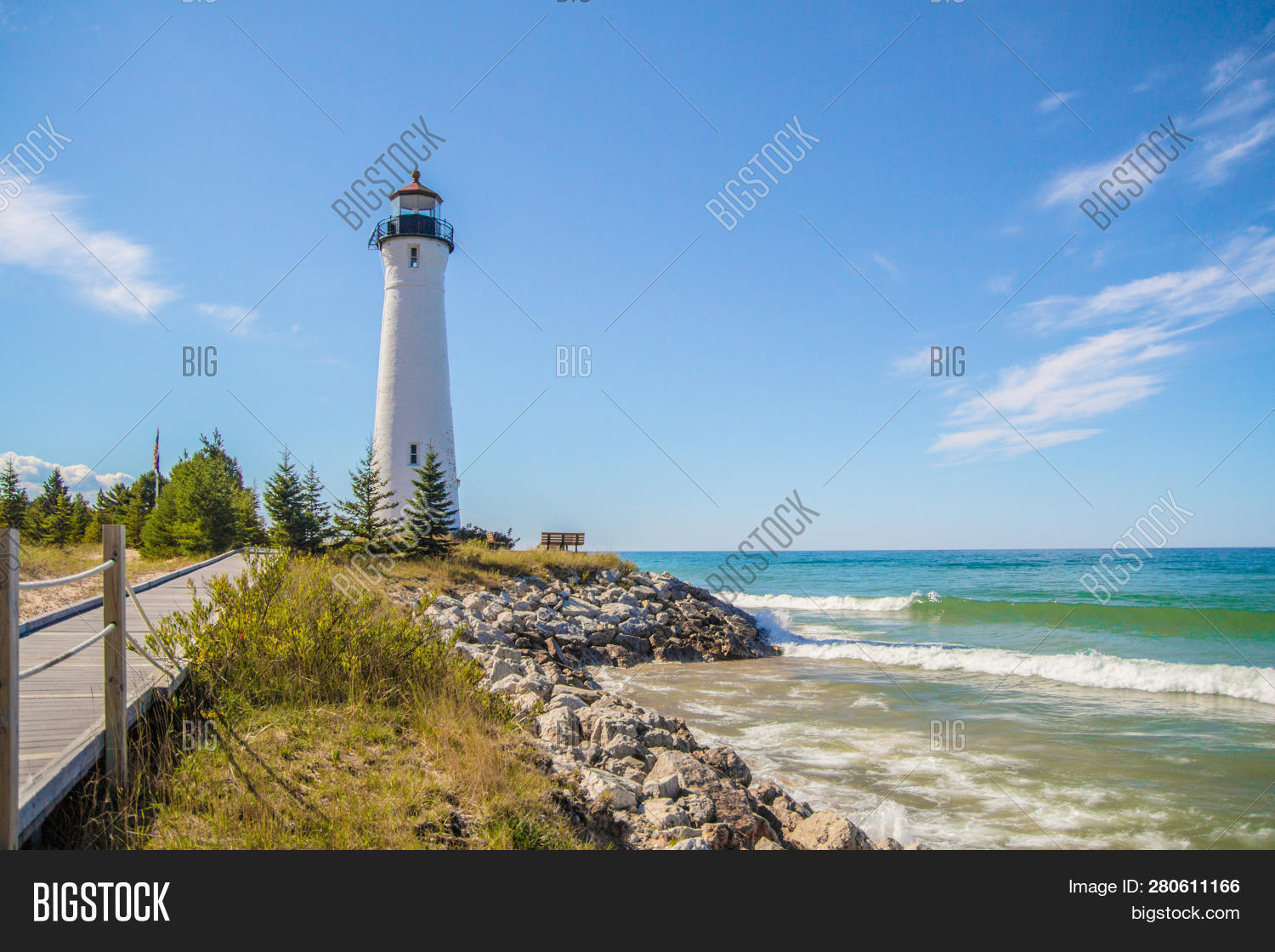 Great Lakes Lighthouse Background. Crisp Point Lighthouse On The Lake Superior Coast In The Upper Pe