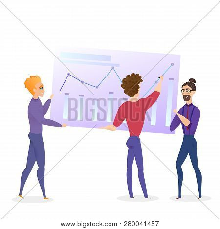 Data Analysis Grath Businessman Vector Character. Business Man Analyse Finance Growth Chart. Digital Case Presentation. Banking Economic Budget Concept Flat Cartoon Illustration stock photo