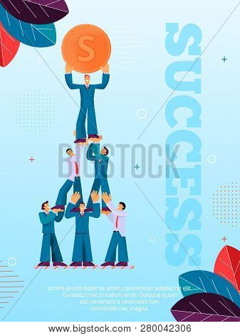 Group People Helps Man Achieve Financial Success. Flat Banner Illustration Guy Standing on Human Pyramid Holding Gold Coin in his Hand Above his Head. Man Supports in Economic Development Company stock photo