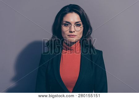 Portrait of nice attractive classy chic elegant confident candid wavy-haired lady business shark experienced sales manager agent broker isolated over gray violet pastel background stock photo