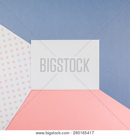 Creative Top View Mock Up Blank Paper Sheet Pink Postcard Background Copy Space. Minimal Geometry Co