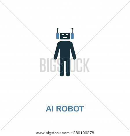 Ai Robot icon in two colors design. Premium style from artificial intelligence icon collection. UI and UX. Pixel perfect ai robot icon for web design, apps, software, print usage. stock photo