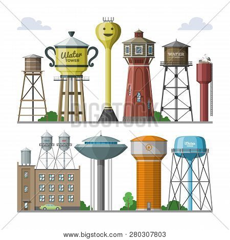 Water tower vector tank storage watery resource reservoir and industrial high metal structure container water-tower in city illustration set of towered construction isolated on white background stock photo