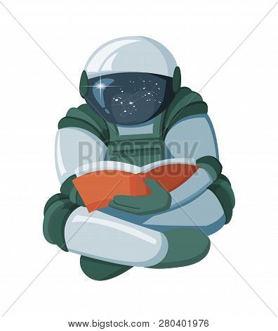 Cartoon Floating astronaut reading a book in space isolated on white background stock photo