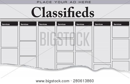 The first page of newspaper classifieds for Services, Place your ad here stock photo