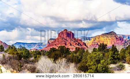 Red Rock Mountain  named Bell Rock, near the city of Sedona in Northern Arizona in Coconino National Forest, United States stock photo
