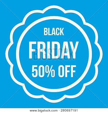 Sale sticker 50 percent off icon white isolated on blue background illustration stock photo