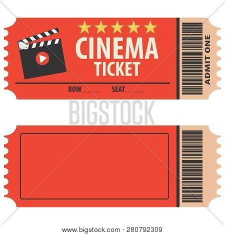Vector red cinema ticket isolated on white background. Cinema ticket, skip to watch movies, realistic look. Cinema ticket movie coupon admit film entertainment. stock photo