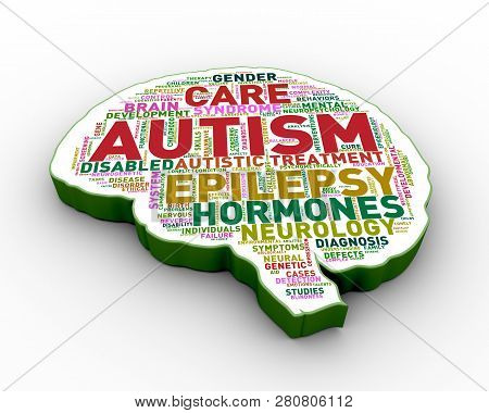3d rendering of brain shape tags word cloud tags of autism awareness stock photo