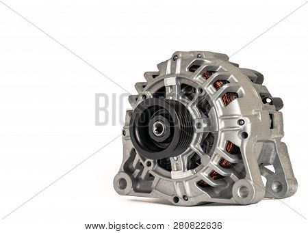 Car power generation. New car generator on a white background in high resolution. Side view. stock photo