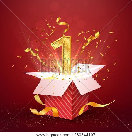 1 st year number anniversary and open gift box with explosions confetti. Template one first birthday celebration on red background vector Illustration. stock photo