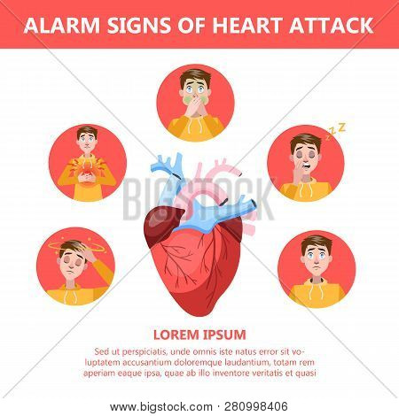 Heart attack symptoms and warning sings. Infographic stock photo