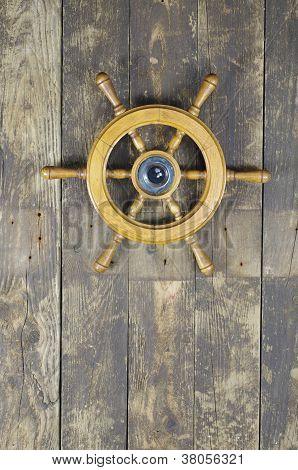 Steering Wheel Of Sailing-ship-Lg Fridge Magnet Skin (size 36x65)