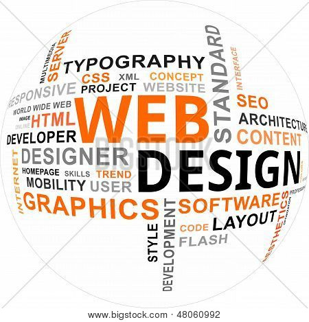 A word cloud of web design related items stock photo