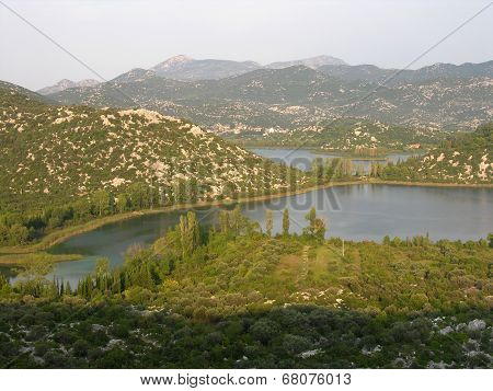 Landscape of Ploce two lakes and mountains of Croatia Europe stock photo