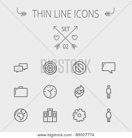 Technology thin line icon set for web and mobile. Set includes - chat, goal, clock, globe, gear, man
