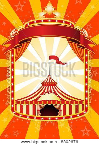 Advertising poster with banner and Big Top Circus stock photo