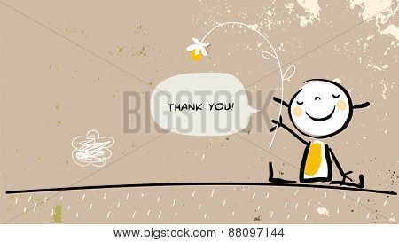 Thank you card with happy girl holding a flower, saying thank you in a speech balloon. Cartoon sketc