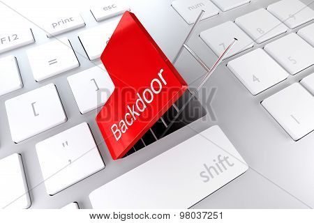 computer keyboard with red enter key hatch underpass ladder backdoor stock photo