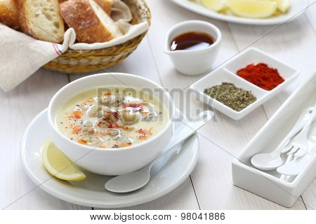 tripe soup, iskembe corbasi, turkish traditional hangover cure stock photo