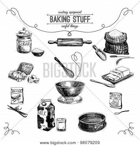 Vector hand drawn set. Vintage Illustration with baking stuff.