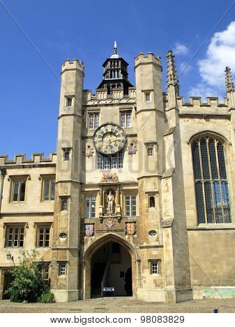 The chapel entrance of the College of the Holy and Undivided Trinity is the largest of the colleges of Cambridge University. The college was founded in 1546 by Henry VIII stock photo