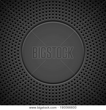 Black abstract technology background with seamless circle perforated pattern, speaker grill texture and bevels for design concepts, wallpapers, web, presentations and prints. Vector illustration. stock photo