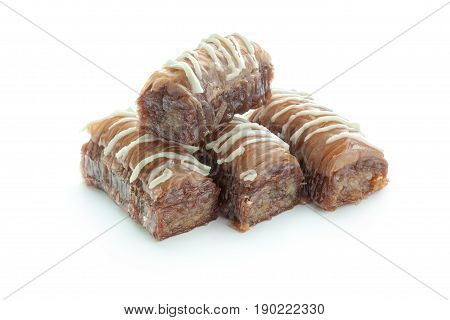 Tasty oriental sweets isolated on white. macro photography. close up. object. stock photo