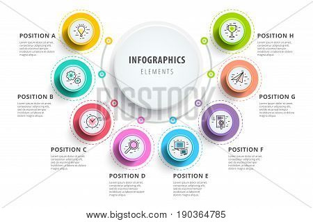Business 8 Step Process Chart Infographics With Step Circles. Circular Corporate Graphic Elements. C