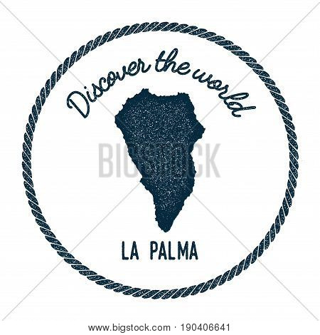 La Palma map in vintage discover the world insignia. Hipster style nautical postage stamp with round rope border. Vector illustration. stock photo